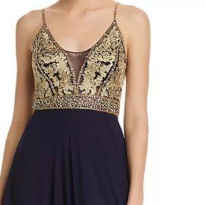 Dark Blue Embellished-Bodice Gown